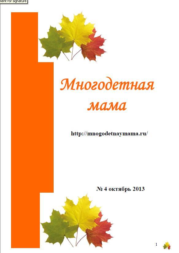 """Журнал """"Многодетная мама"""""""